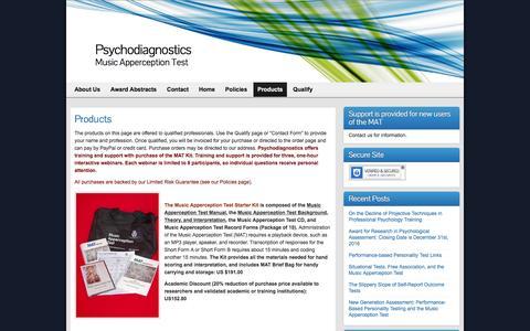 Screenshot of Products Page psychodiagnostics.com - Products - Psychodiagnostics - captured Nov. 14, 2016