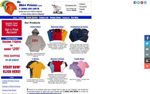 Screenshot of Products Page theshirtprinter.com - T-Shirt Products for Custom Tee Shirt Screen Printing | TheShirtPrinter.com - captured Oct. 9, 2014