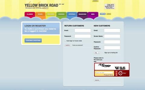 Screenshot of Login Page yellowbrickroad.ie - Login or Register  —  My Account  — Yellow Brick Road - captured Oct. 4, 2014