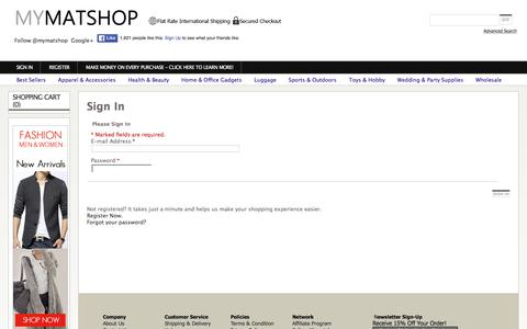 Screenshot of Login Page mymatshop.com - Asia Online Shopping Mall -  Small Business Wholesale Supplier - captured Feb. 17, 2016