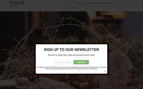Screenshot of Home Page roast-restaurant.com - Roast Restaurant - Deliciously British - captured Nov. 22, 2018