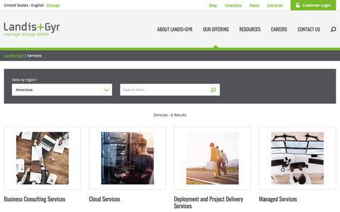 Screenshot of Services Page landisgyr.com - Services | Landis+Gyr - captured March 1, 2018