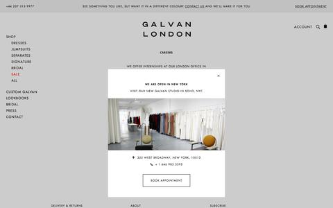 Screenshot of Jobs Page galvanlondon.com - Designer Fashion Careers at Galvan London | Apply Today - captured July 16, 2018