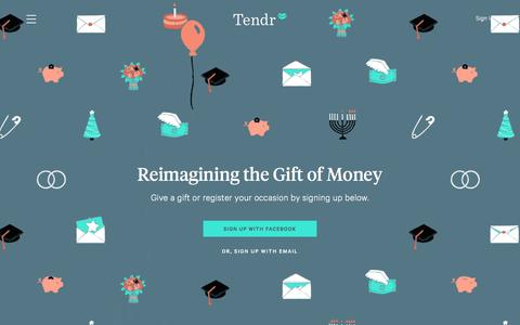 Screenshot of Home Page tendr.com - Tendr - The elegant way to give and receive cash gifts. - captured July 3, 2016