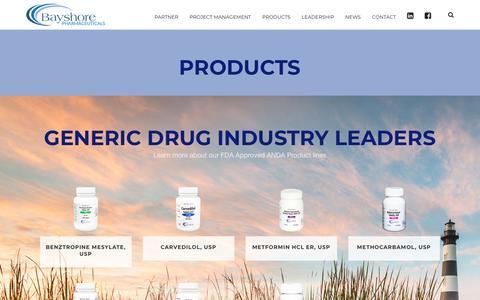 Screenshot of Products Page bayshoreus.com - Products – Bayshore Pharmaceuticals - captured Oct. 5, 2018