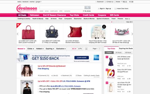Screenshot of Home Page dealmoon.com - Deals, Coupons, Promotions, Credit Cards, Discounted gift cards - captured Sept. 18, 2014