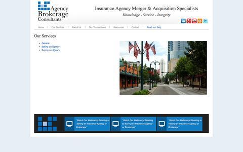 Screenshot of Services Page agencybrokerageconsultants.com - Agency Brokerage Consultants - Our Services - captured Dec. 24, 2015