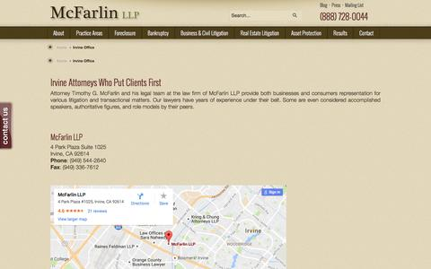 Screenshot of Maps & Directions Page mcfarlinlaw.com - Irvine Office  |  McFarlin LLP - captured Nov. 28, 2016