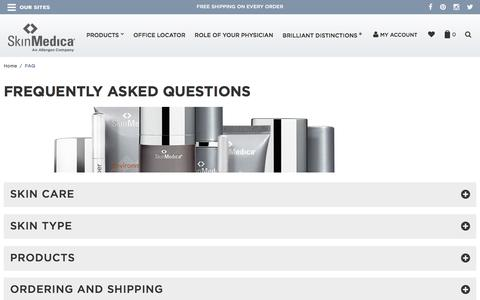 Screenshot of FAQ Page skinmedica.com - FAQ - captured Aug. 27, 2016