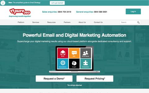 Screenshot of Home Page pure360.com - Email Marketing and Marketing Automation | Pure360 - captured Sept. 30, 2014