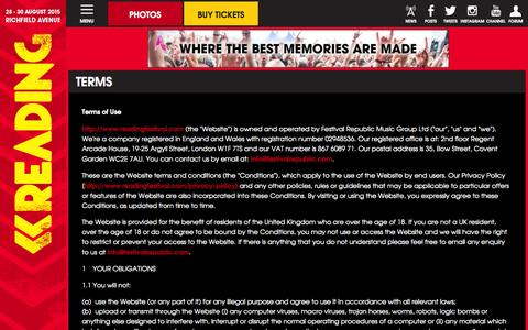 Screenshot of Terms Page readingfestival.com - Terms | Reading Festival 2015 - captured Oct. 31, 2014