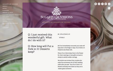 Screenshot of FAQ Page sugarplum-visions.com - FAQ — Put A Fork In It! - captured June 16, 2017