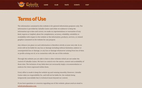 Screenshot of Terms Page cahuillacasino.com - Terms of Use | Website Privacy | Cahuilla Casino - captured Oct. 1, 2014