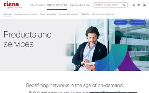 Screenshot of Products Page ciena.com - Products & Services | Ciena - captured May 17, 2017