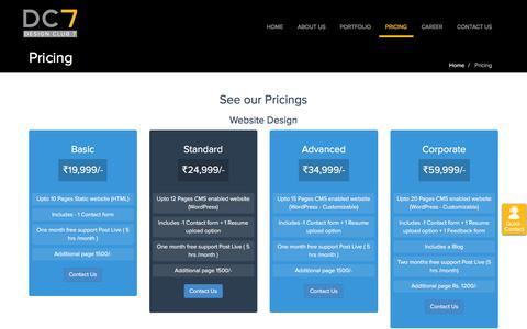 Screenshot of Pricing Page designclub7.com - Pricing - captured Aug. 1, 2016