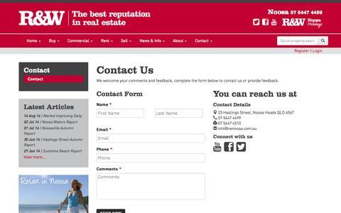 Screenshot of Contact Page rwnoosa.com.au - Contact - captured Oct. 31, 2014