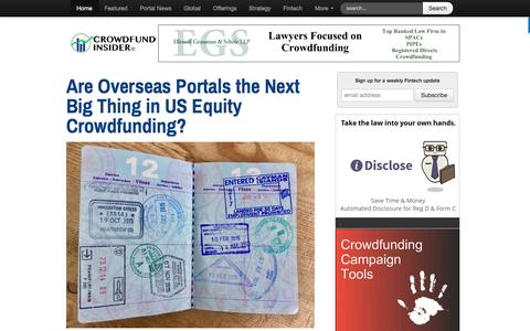 Screenshot of Home Page crowdfundinsider.com - Crowdfunding News, Portal Information, Crowd Funding Campaigns and Offerings - Crowdfund Insider - captured March 22, 2017