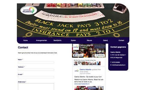 Screenshot of Contact Page casinoatlantis.nl - Contact | Casino Atlantis - captured July 11, 2016