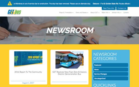 Screenshot of Press Page getbus.org - Newsroom - Golden Empire Transit District - captured Aug. 26, 2017