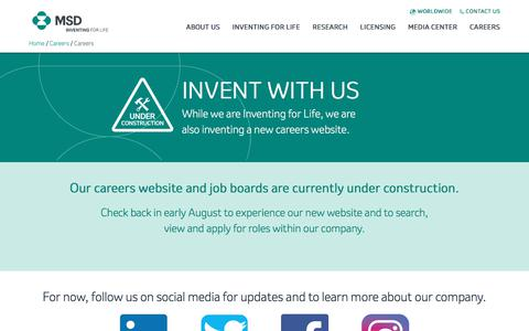 Screenshot of Jobs Page msd.com - MSD | Careers | Under Construction - captured July 28, 2019