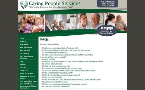Screenshot of FAQ Page elderly-care.biz - Caring People Services-Professional Caregivers - captured June 24, 2016