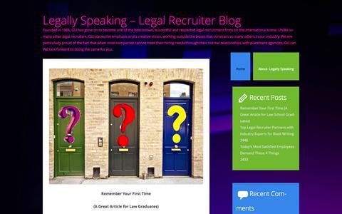 Screenshot of Blog grimeslegal.com - Legally Speaking - Legal Recruiter Blog - captured Oct. 1, 2014