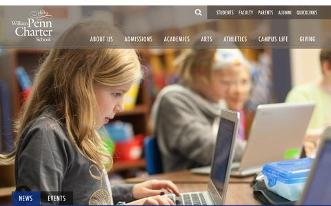 Screenshot of Home Page penncharter.com - Philadelphia Independent Private School for K-12 | Penn Charter - captured Feb. 16, 2016
