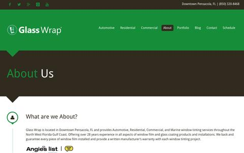 Screenshot of About Page glasswrap.com - Glass Wrap | About - Pensacola, FL - captured Oct. 31, 2016
