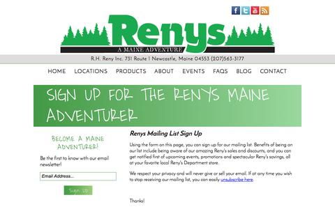 Screenshot of Signup Page renys.com - Mailing List Registration at Renys - A Maine Adventure - captured Oct. 27, 2014