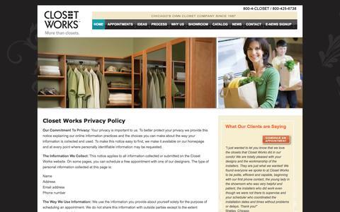 Screenshot of Privacy Page closetworks.com - Privacy > Contact > Closet Works - captured Sept. 30, 2014