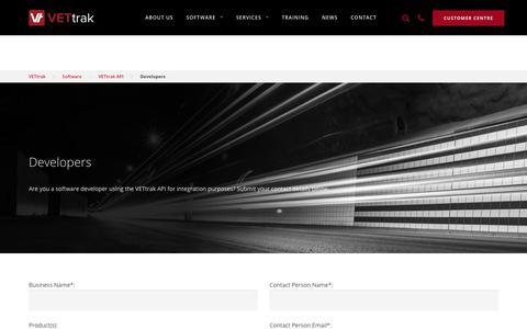 Screenshot of Developers Page vettrak.com.au - VETtrak API: Developers - captured Nov. 2, 2017