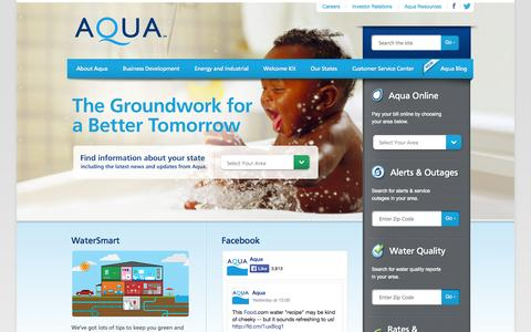 Screenshot of Home Page Privacy Page Contact Page Press Page aquaamerica.com - Home - captured Sept. 23, 2014