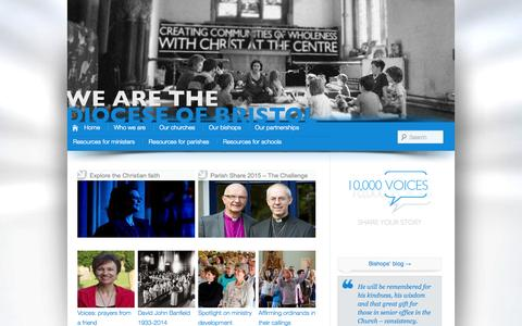 Screenshot of anglican.org - Diocese of Bristol | Creating Communities of Wholeness with Christ at the Centre - captured Oct. 11, 2014