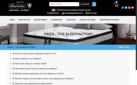 Screenshot of FAQ Page sleepfactory.com - FAQ'S - The SleepFactory - captured Dec. 22, 2016