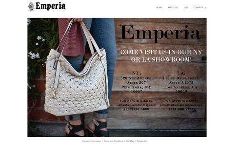 Screenshot of Home Page emperiahandbags.com - Emperia's Handbags - emperiahandbags.com - Official Online Store - captured Sept. 29, 2014