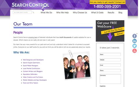 Screenshot of Team Page searchcontrol.com - Our Team - captured Oct. 26, 2014