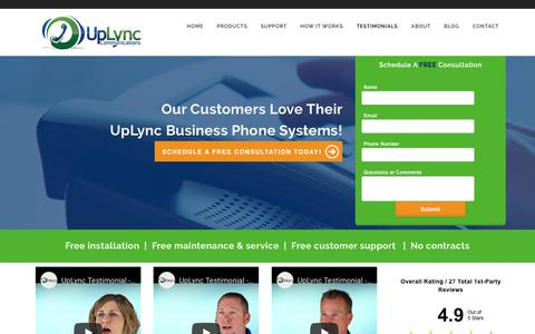 Screenshot of Testimonials Page uplync.com - Small Business Phone System | Lafayette,  IN | UpLync - captured Oct. 20, 2018
