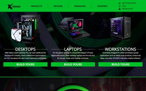 Screenshot of Products Page xidax.com - Products - captured Oct. 18, 2017