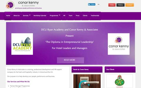 Screenshot of Home Page conorkenny.com - Hotel Consultants, Marketing Consultants, Sales training Ireland: Conor Kenny & Associates - captured Jan. 31, 2016