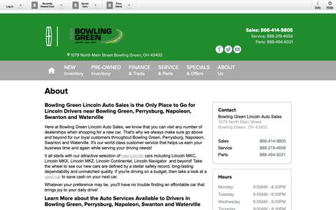 Screenshot of About Page bowlinggreenlincolnauto.com - About Bowling Green Lincoln Auto Sales in Bowling Green | Ohio Lincoln Dealer Information - captured Oct. 6, 2018