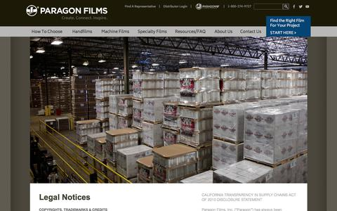 Screenshot of Terms Page paragonfilms.com - Legal Notices | Paragon Films - captured July 13, 2017