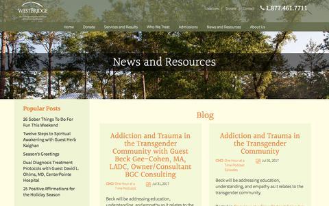 Screenshot of Blog westbridge.org - WestBridge - Family-centered treatment for mental illness & substance use disorders - captured Oct. 20, 2017