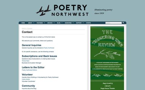 Screenshot of Contact Page poetrynw.org - Poetry NorthwestContact | - captured Oct. 2, 2014