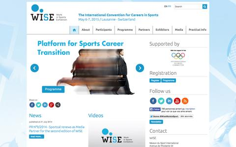 Screenshot of Home Page wiselausanne.com - WISE - Work in Sports Exhibition / The International Convention for Careers in Sports, May 6-7, 2015 / Lausanne - Switzerland - captured Oct. 7, 2014