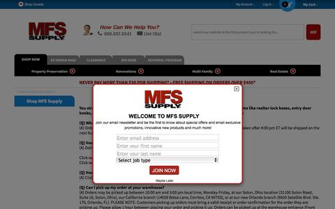 Screenshot of FAQ Page mfssupply.com - Realtor® lock box, entry door knobs, locksets and more - The affordable source for property management supplies and helpful solutions to all your maintenance questions. - captured May 26, 2017
