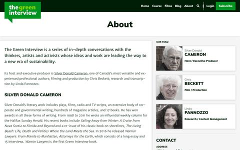 Screenshot of About Page thegreeninterview.com - About - The Green Interview - captured Nov. 19, 2018