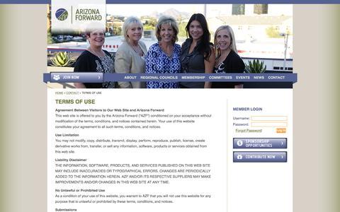 Screenshot of Terms Page arizonaforward.org - Terms Of Use - Arizona Forward - captured Dec. 26, 2015