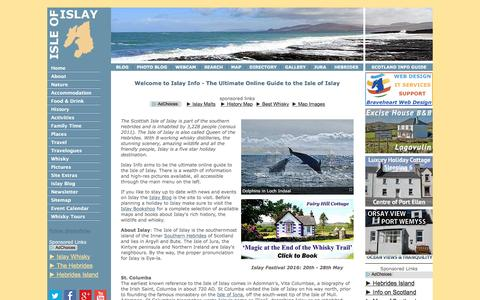 Screenshot of Home Page islayinfo.com - Islay Ultimate Online Guide - Isle of Islay Queen of the Hebrides - captured Jan. 9, 2016