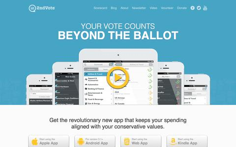 Screenshot of Home Page 2ndvote.com - Conservative Shopper App - 2nd Vote - captured Oct. 9, 2014