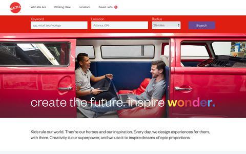 Screenshot of Jobs Page mattel.com - Working at Mattel - captured Jan. 9, 2019